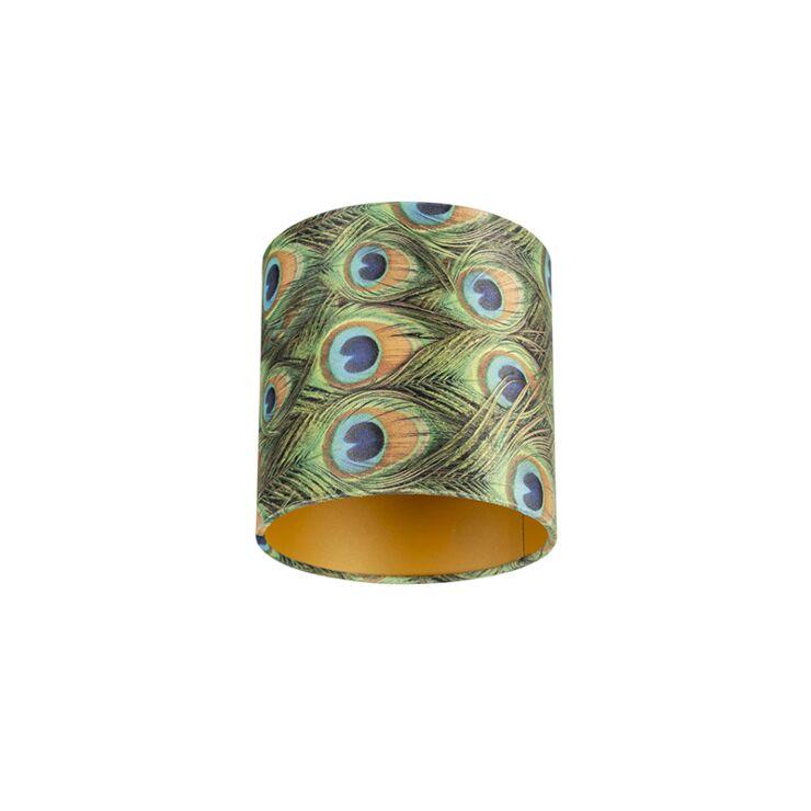 QAZQA Moderne Coton Abat-jour velours papillon design 35//35//20 dor/é /à lint/érieur Rond//Cylindrique Abat-jour Suspendu,Abat-jour Lampadaire