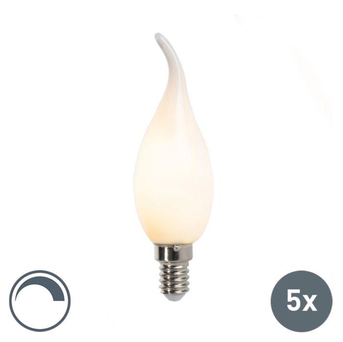 Lot-de-5-lampes-à-bougie-à-filament-LED-dimmable-E14-F35-mat-3W
