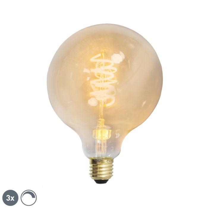 Ensemble-de-3-filaments-torsadés-à-LED-dimmables-E27-G125-goldline