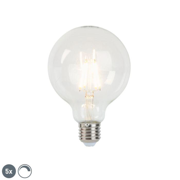 Lot-de-5-lampes-à-incandescence-LED-dimmables-E27-G95-5W-470-lm-2700K