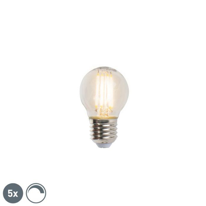 Ensemble-de-5-lampes-à-billes-à-filament-LED-réglables-E27-5W-470lm-2700K