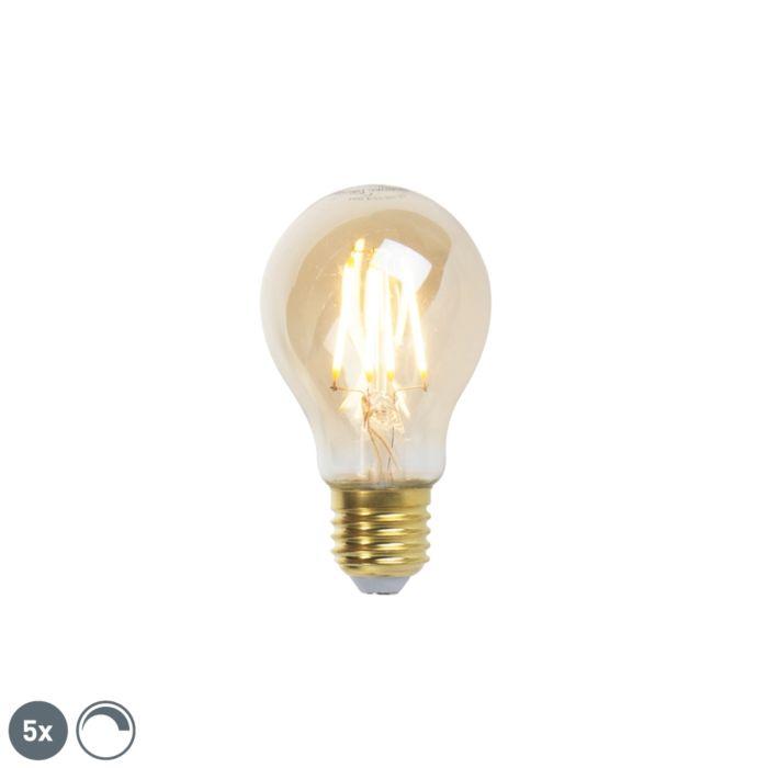 Lot-de-5-lampes-à-incandescence-LED-E27-dimmables-goldline-360lm-2200K
