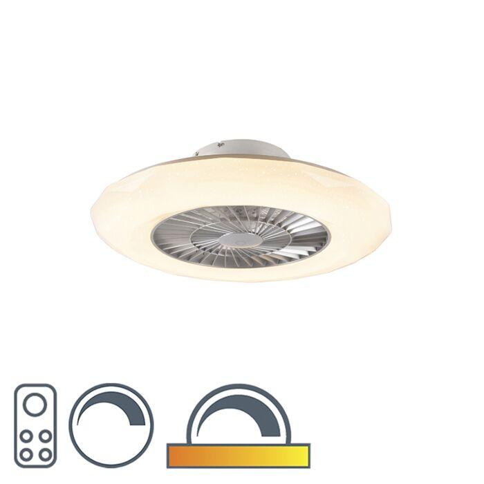 Ventilateur-de-plafond-argent-avec-LED-avec-effet-étoile-dimmable---Clima