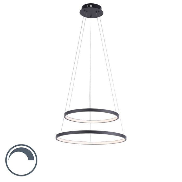 Lampe-à-suspension-anneau-moderne-anthracite-avec-LED-dimmable---Anella-Duo
