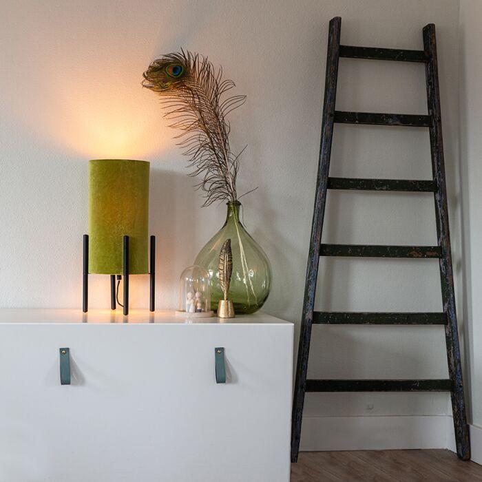 Lampe-de-table-design-abat-jour-en-velours-noir-vert-avec-or---Rich