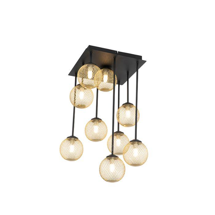 Plafonnier-Art-Déco-noir-avec-or-9-lumières---Athens-Wire