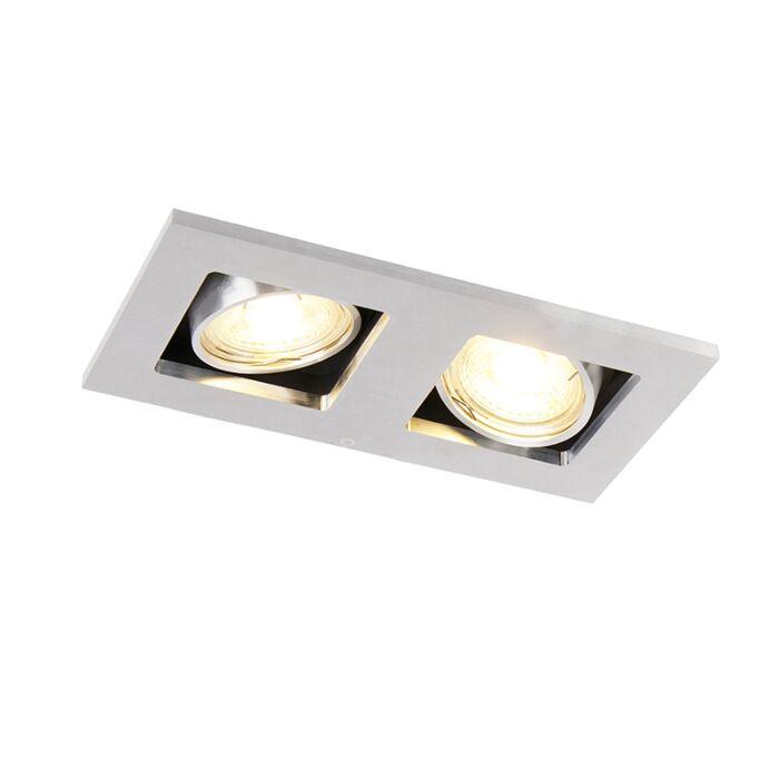 Spot-encastrable-rectangulaire-en-aluminium-à-2-lumières---Qure