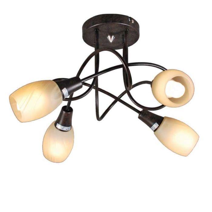 Plafonnier-Andrea-4-lumières-acier-rouille