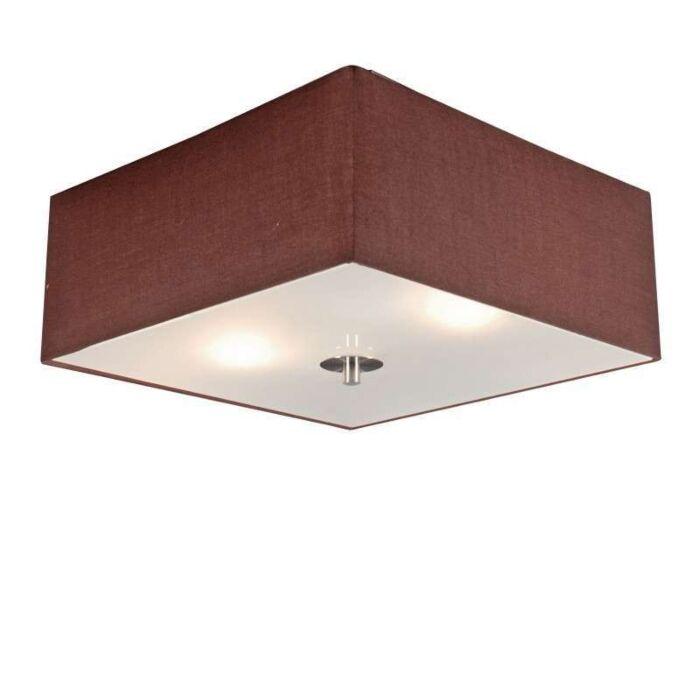 Plafonnier-Drum-carré-35cm-marron