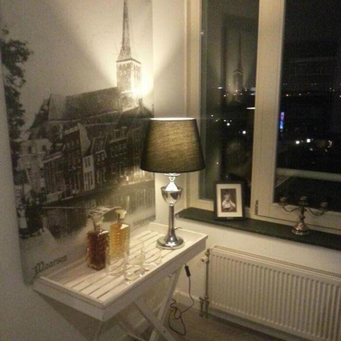 Lampe-de-table-Bagod-chrome-abat-jour-noir