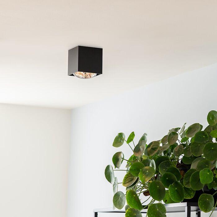 Spot-design-carré-1-lumière-noir-incl.1-x-G9---Boîte