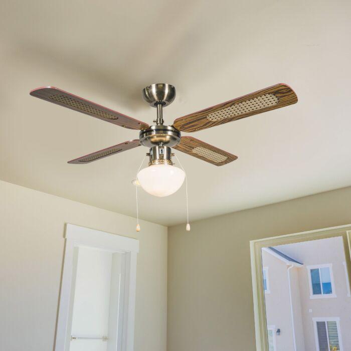 Ventilateur-de-plafond-industriel-avec-lampe-100-cm-bois---Vent