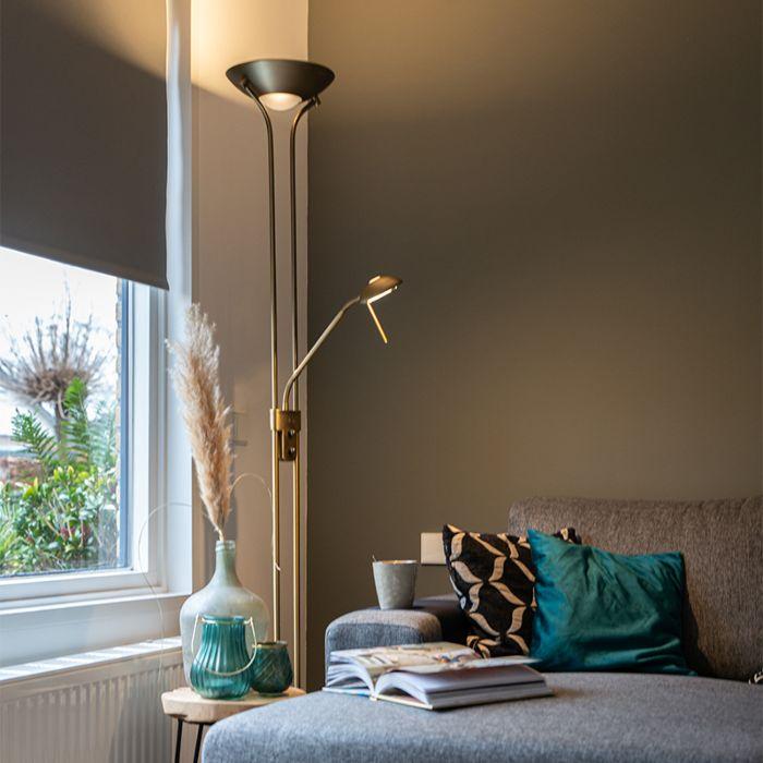 Lampadaire-en-bronze-avec-lampe-de-lecture-avec-LED-et-variateur---Diva-2