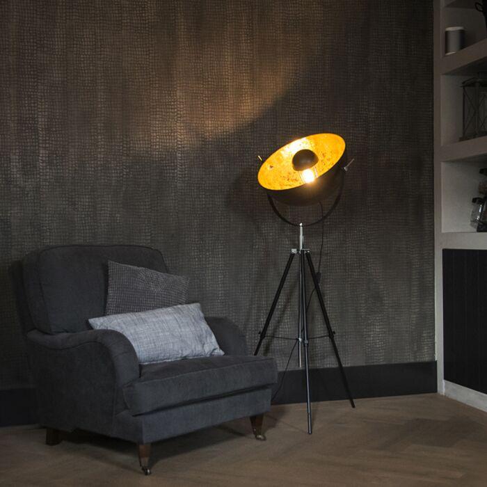 Lampadaire-industriel-trépied-noir---Magna-50-Eglip