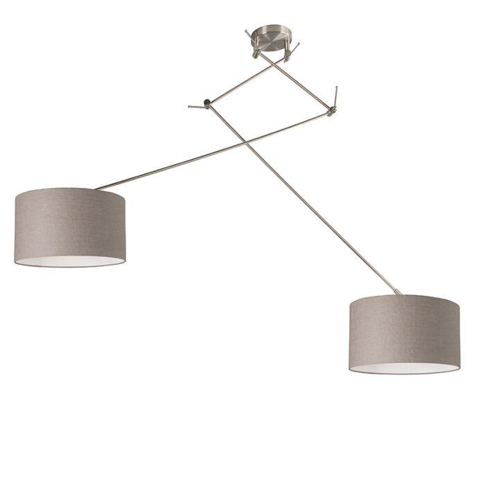 Lampe-à-suspension-acier-avec-abat-jour-35-cm-taupe-réglable---Blitz-II