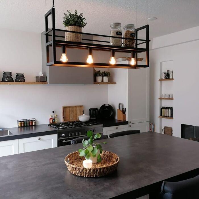 Suspension-industrielle-noire-avec-support-4-lumières---Cage-Rack