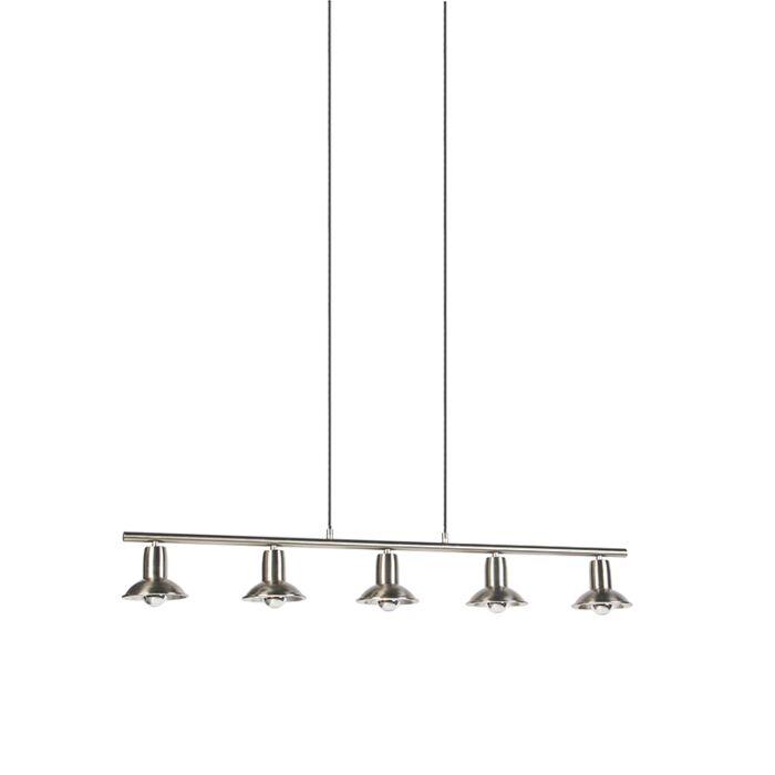 Lampe-à-suspension-design-argent-5-lumières---Avril