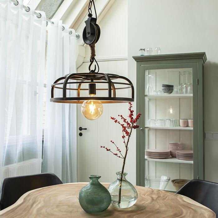 Lampe-à-suspension-industrielle-en-acier-noir---Camelot
