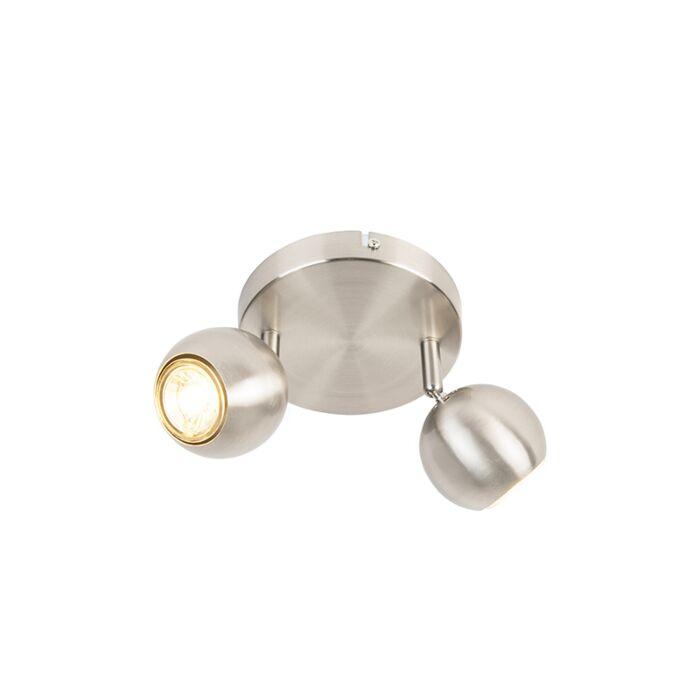 Spot-rétro-rond-en-acier-avec-plaque-de-plafond-à-2-lumières---Gissi