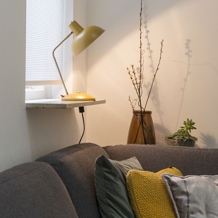 Lampe-de-table-rétro-jaune-avec-bronze---Milou