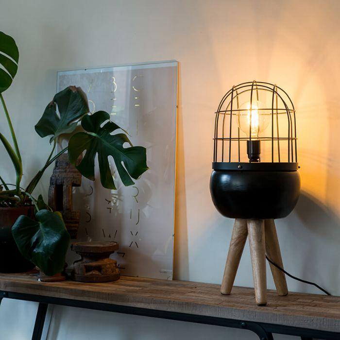 Lampe-de-table-moderne-noir-sur-trépied-en-bois---Birds
