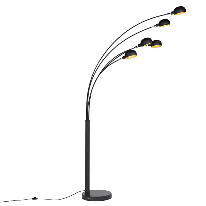 Lampadaire-design-noir-5-lumières---Sixties-Marmo