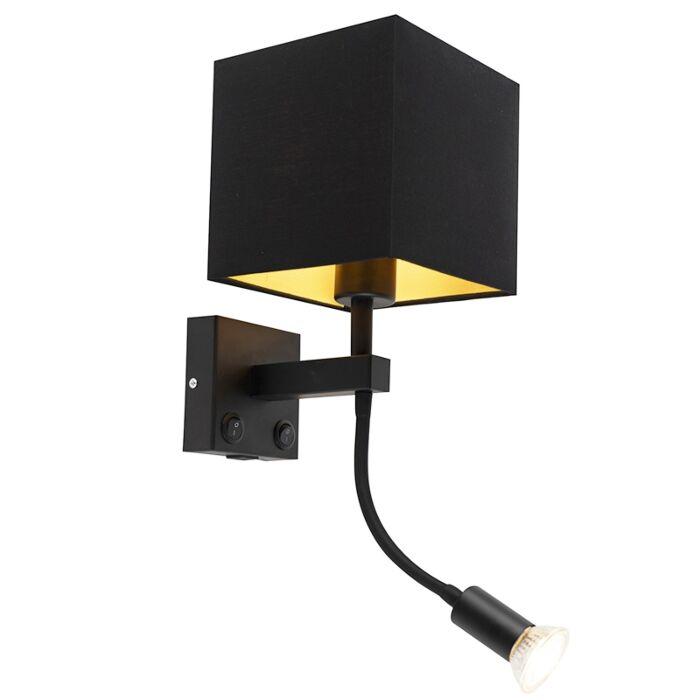 Applique-moderne-noire-avec-USB-et-abat-jour-carré-noir---Zeno
