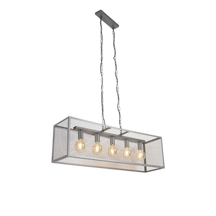 Lampe-à-suspension-industrielle-argent-antique-5-lumières---Cage-Robusto