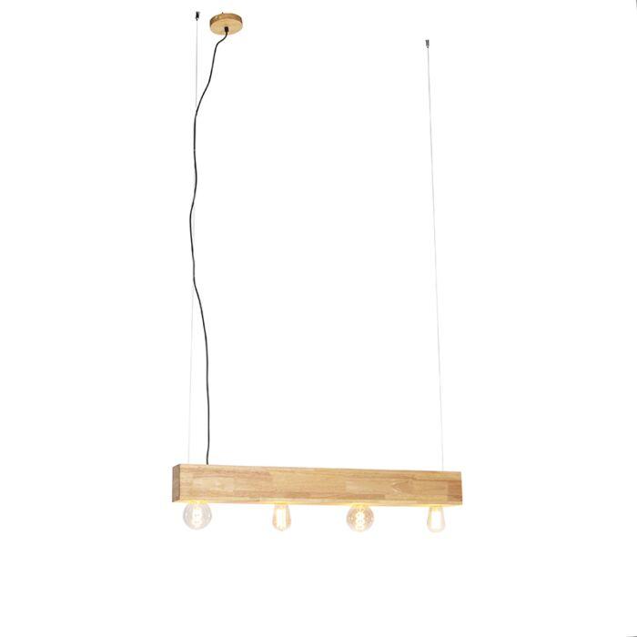 Lampe-à-suspension-rurale-en-bois-à-4-lumières---Sema