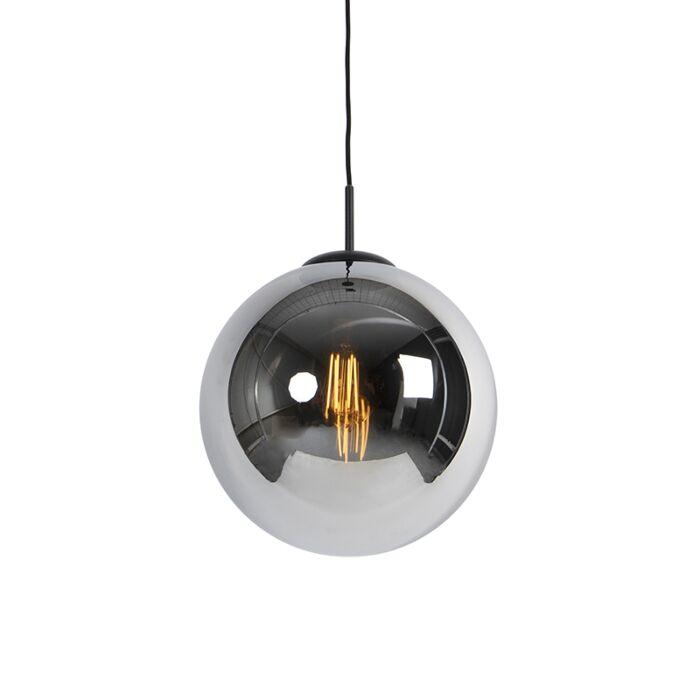 Lampe-à-suspension-Art-Déco-noire-avec-verre-fumé-1-lumière---Pallon