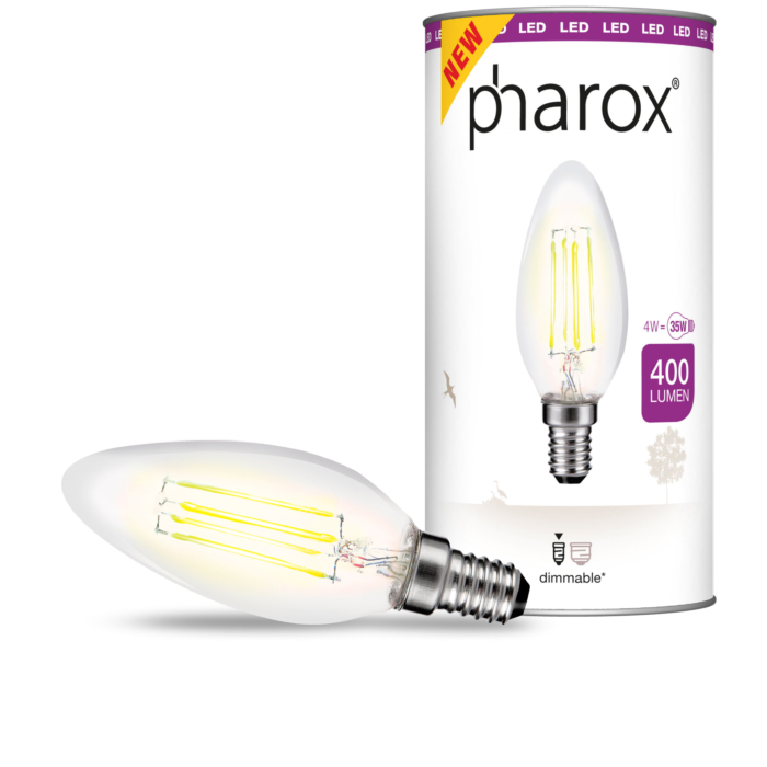 Ampoule-LED-à-filament-Pharox-Candle-Clear-400-lumen