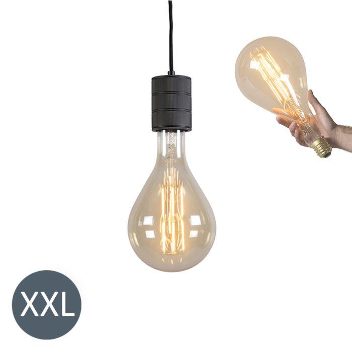 Suspension-Splash-noir-avec-ampoule-LED-dimmable