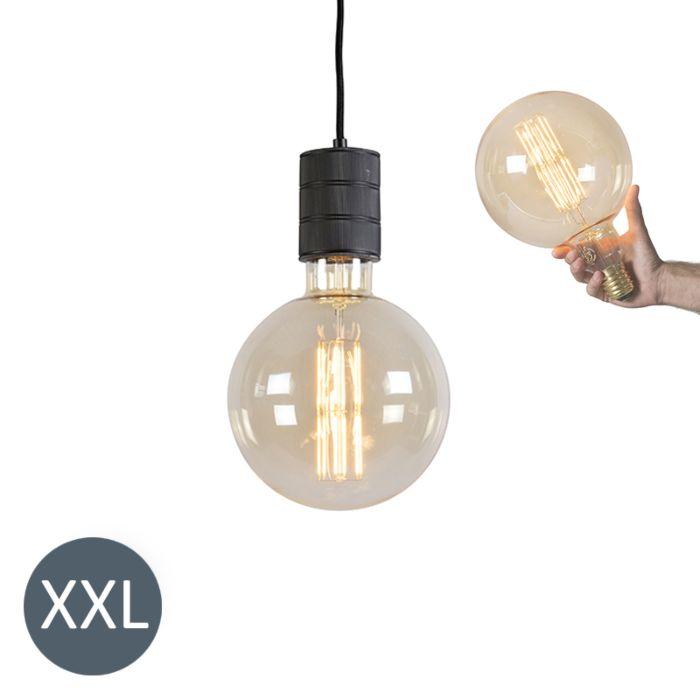Suspension-Megaglobe-noir-avec-ampoule-LED-dimmable