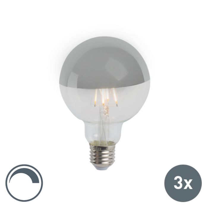 Lot-de-3-rétroviseurs-LED-E27-dimmables-G95-argent-280lm-2300K