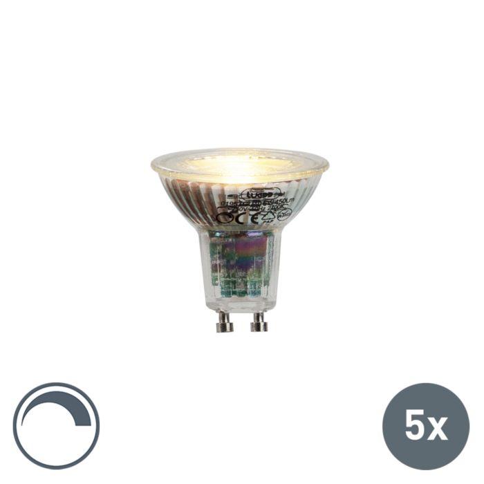 Lot-de-5-lampes-LED-GU10-6W-450lumen-2700K-dimmable