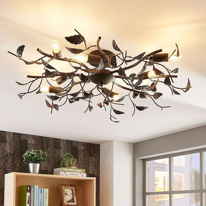 Vintage-plafondlamp-zwart-met-goud-8-lichts---Yos