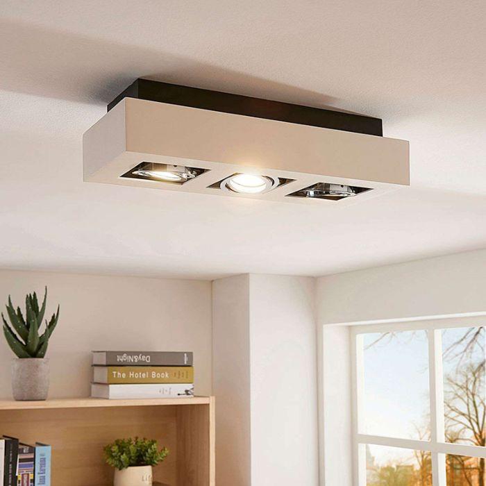 Spot-de-plafond-moderne-blanc-avec-GU10-3-lumières---Vince