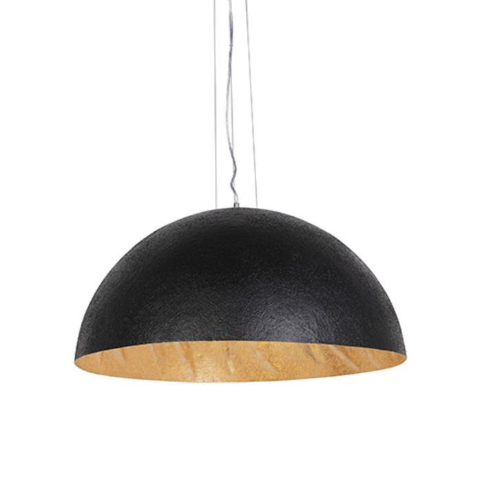 Lampe-à-suspension-industrielle-noire-avec-or-70-cm---Magna