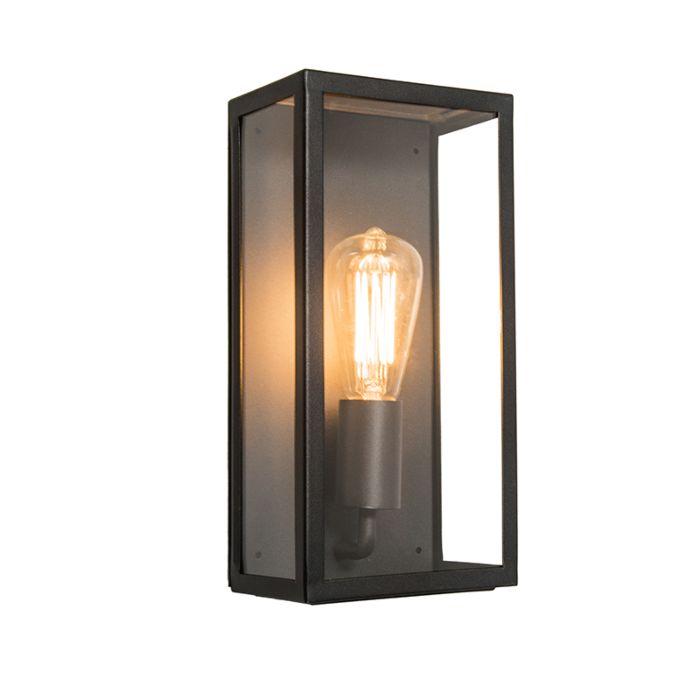 Applique-d'extérieur-industrielle-rectangulaire-noire-avec-verre-IP44---Rotterdam