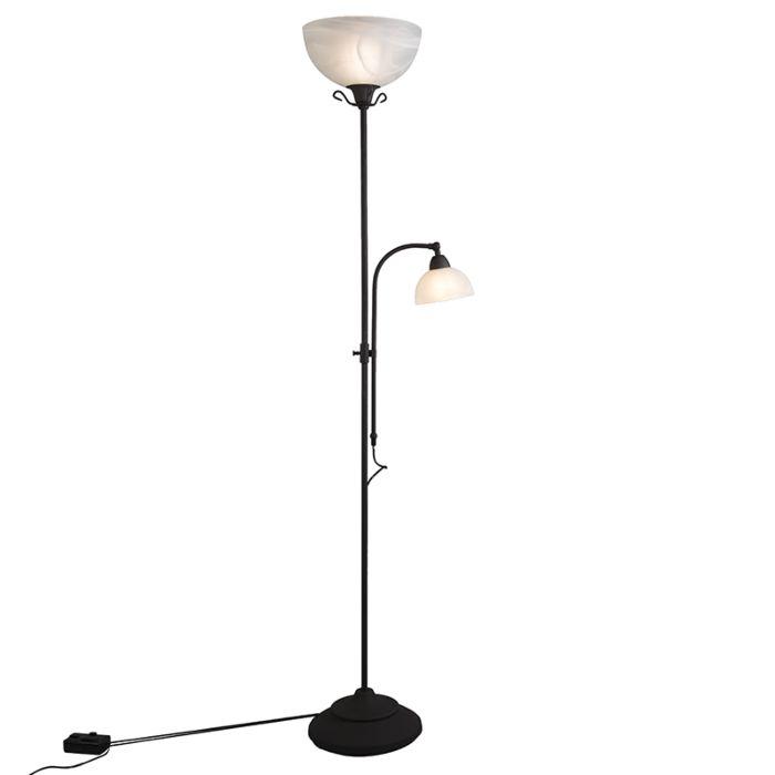 Lampadaire-classique-marron-avec-lampe-de-lecture-et-dimmer---Dallas