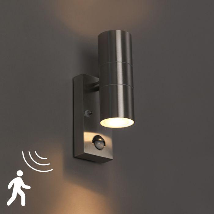 Applique-murale-extérieure-en-acier-IP44-avec-détecteur-de-mouvement---Duo