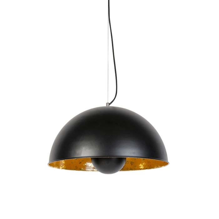 Lampe-à-suspension-industrielle-noire-avec-or-50-cm---Magna-Eglip