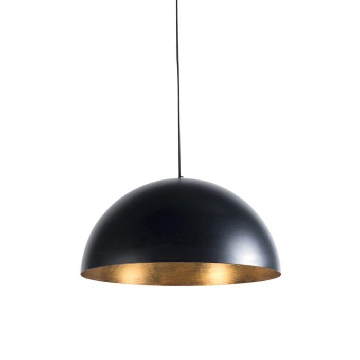 Lampe-à-suspension-industrielle-noire-avec-or-50-cm---Magna-Eco