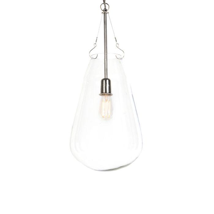 Lampe-suspension-design-verre-avec-nickel---Sikka