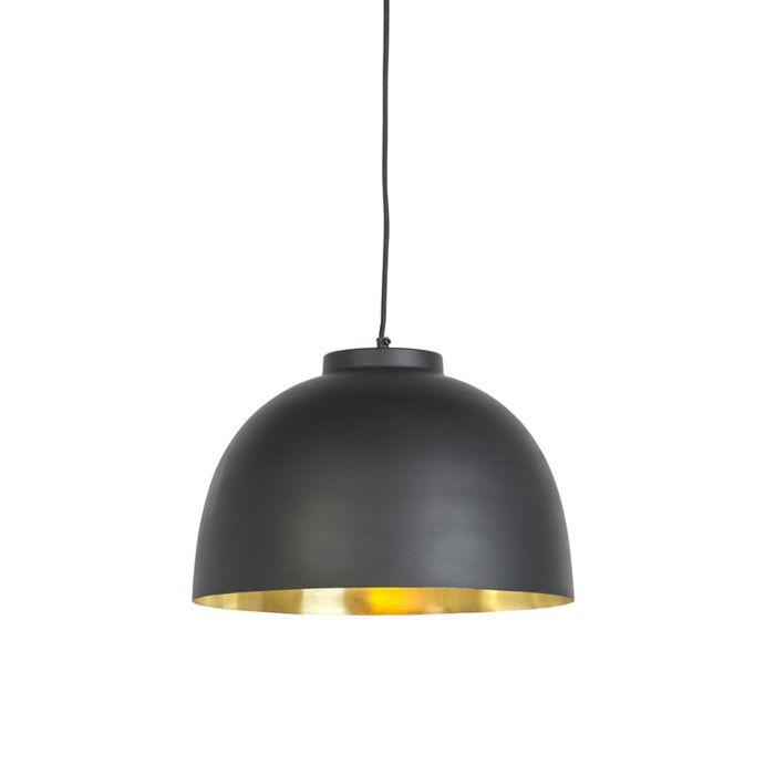 Lampe-suspendue-noir-avec-laiton-à-l'intérieur-40-cm---Hoodi