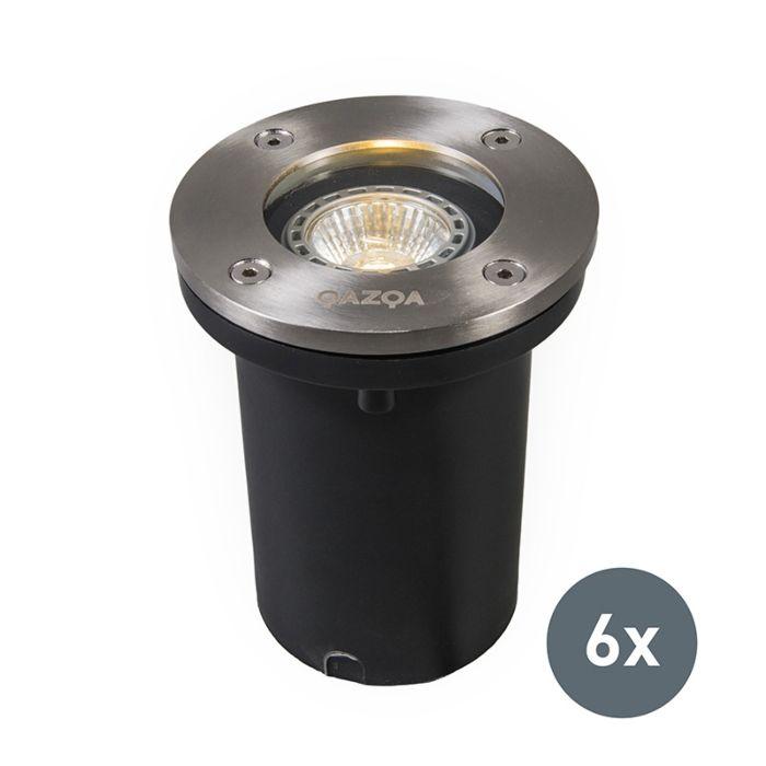 Lot-de-6-spots-de-sol-extérieurs-acier-IP65---Basic-Round