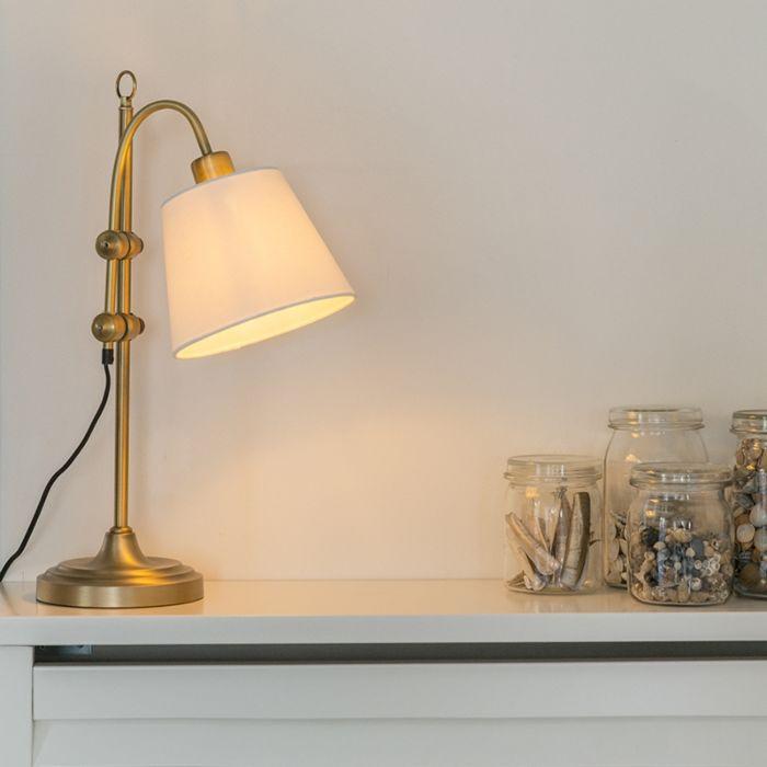 Lampe-de-table-classique-en-bronze-avec-abat-jour-blanc---Ashley