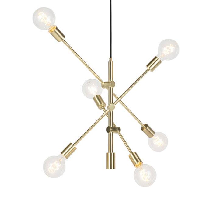 Lampe-à-suspension-Art-Déco-en-laiton-mat-6-lumières---Sydney