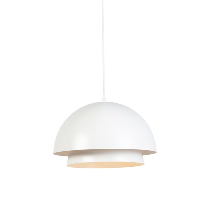 Suspension-Moderne-ronde-blanche-avec-2-couches-blanches---Claudius