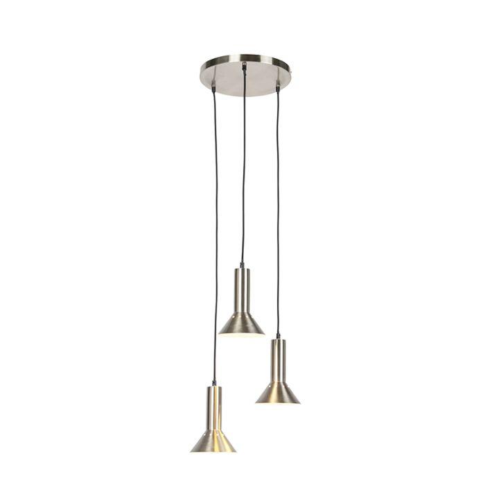 Suspension-moderne-acier-3-lumières---Speaker